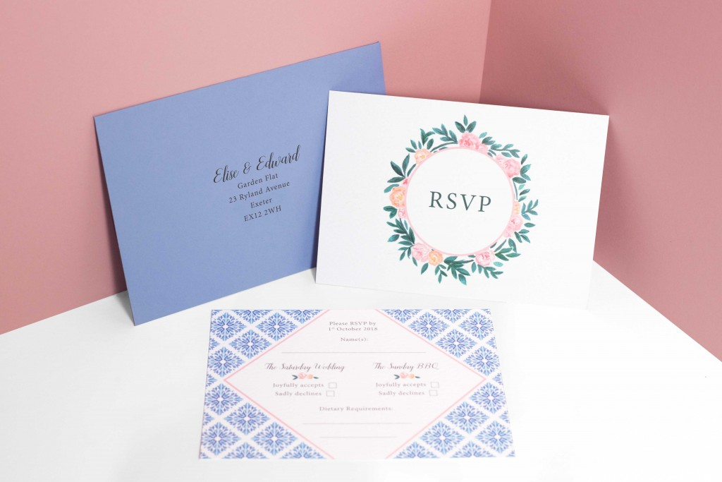 Watercolour florals and Portuguese tiles inspired wedding invitation RSVP card with map for destination wedding in Portugal