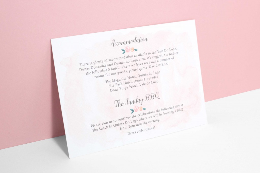 Watercolour florals and Portuguese tiles inspired wedding invitation info card with map for destination wedding in Portugal
