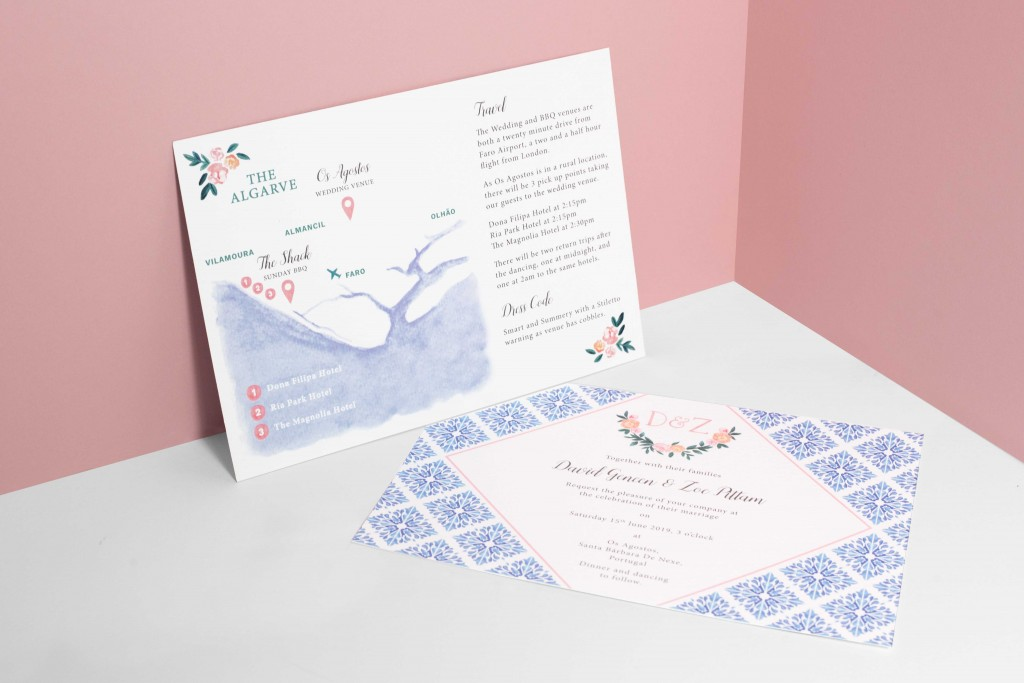 Watercolour florals and Portuguese tiles inspired wedding invitation with hand painted map for destination wedding in Portugal