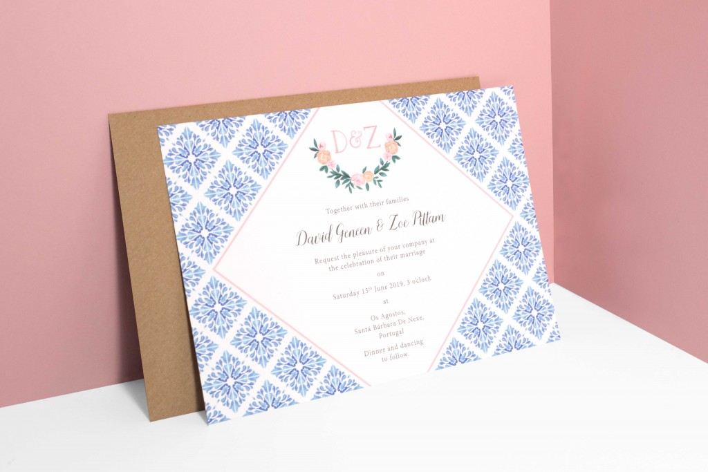 Watercolour florals and Portuguese tiles inspired wedding invitation with map for destination wedding in Portugal