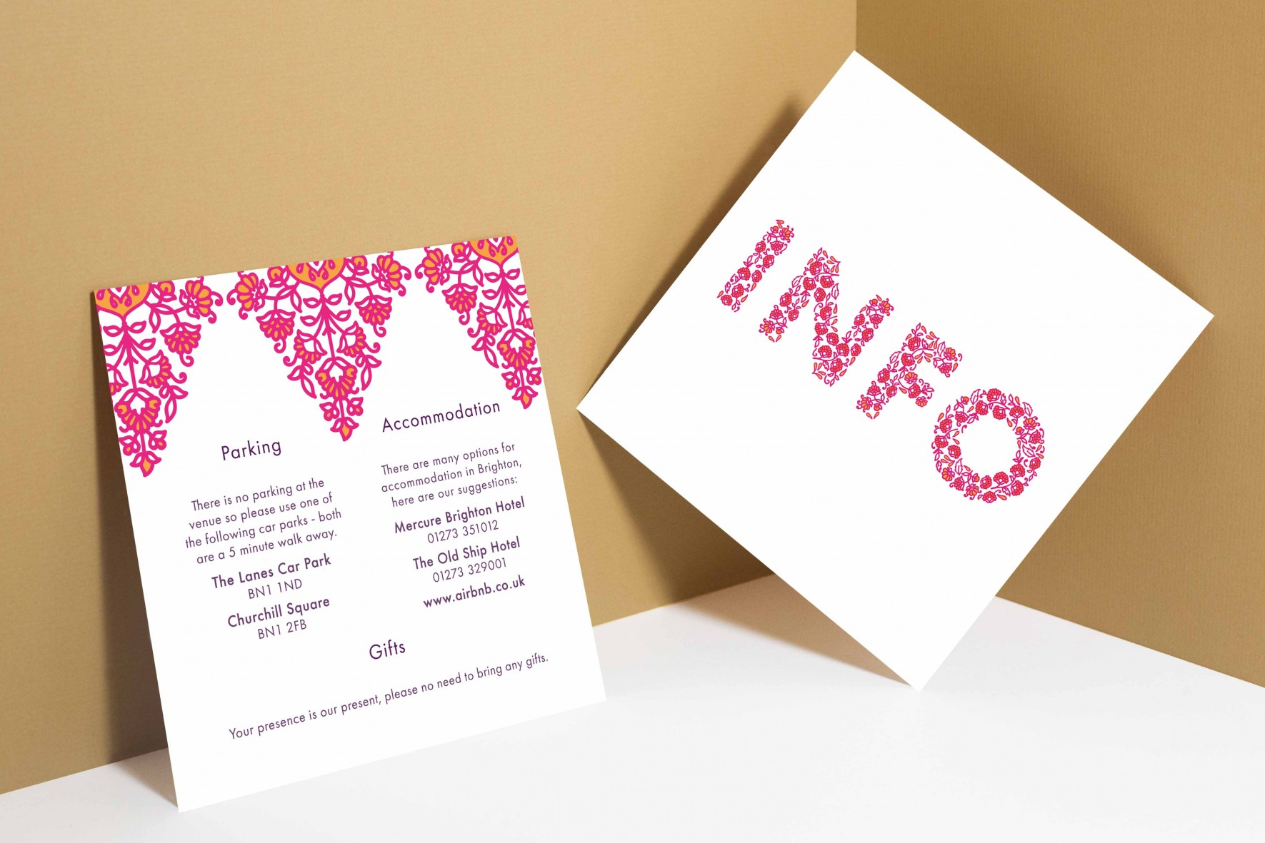 Modern Indian inspired wedding invitation_pink and orange