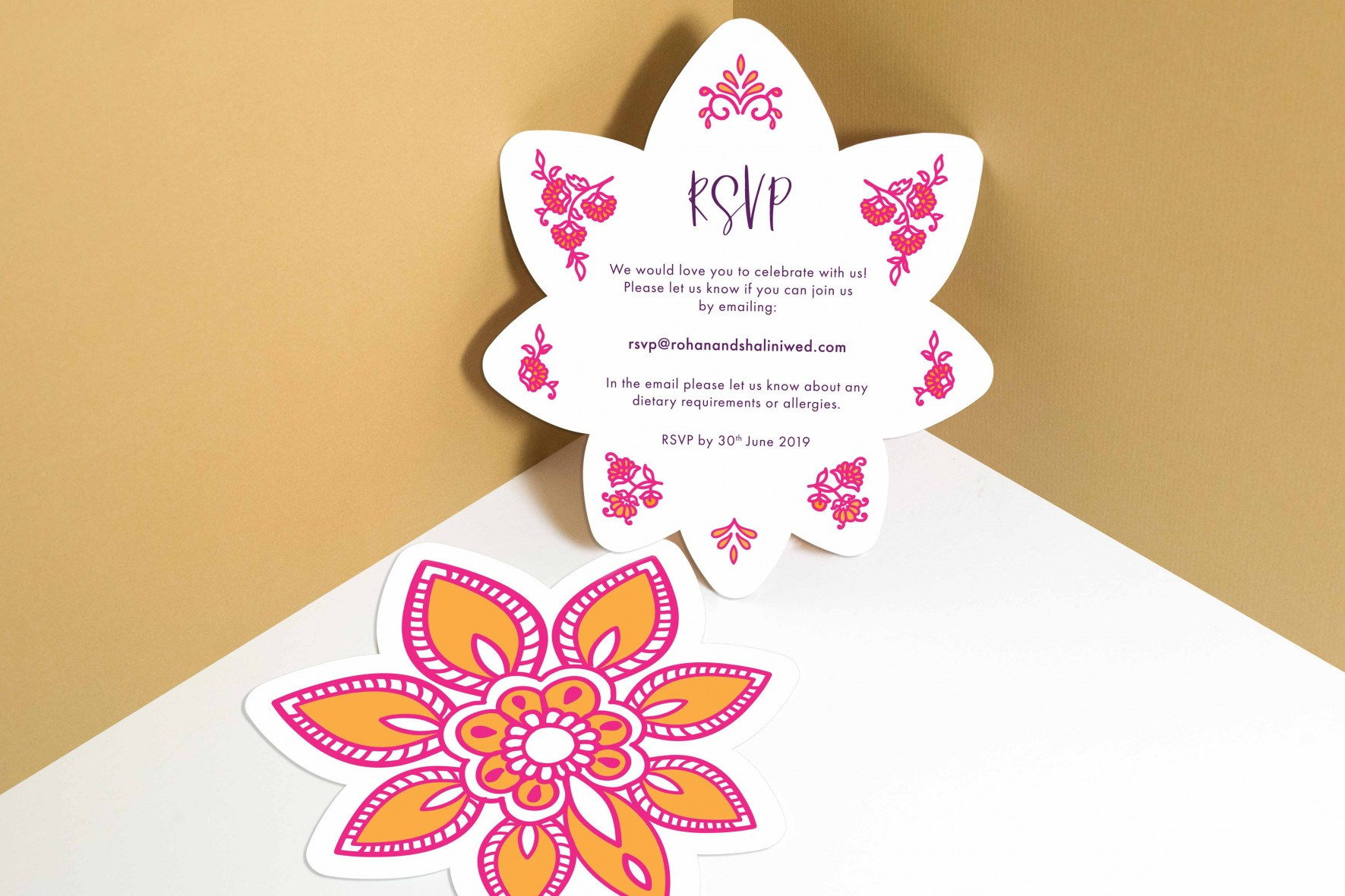 Modern Indian inspired wedding invitation_pink and orange RSVP card