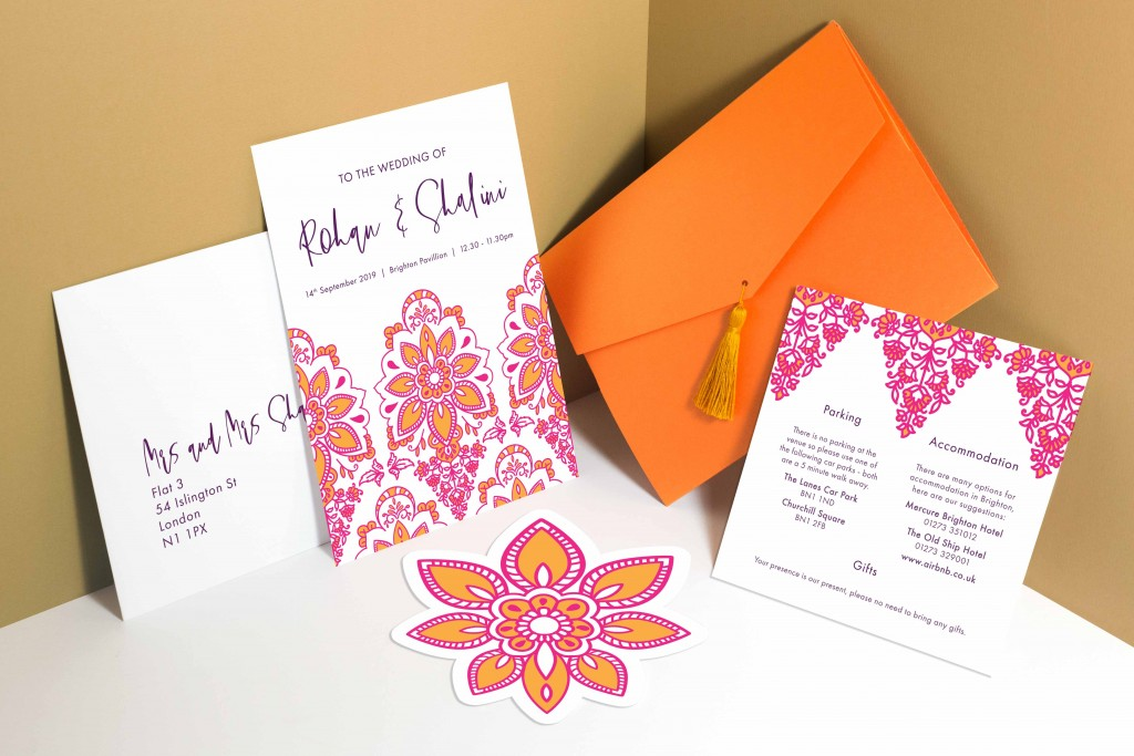 Modern Indian inspired wedding invitation tassel envelope