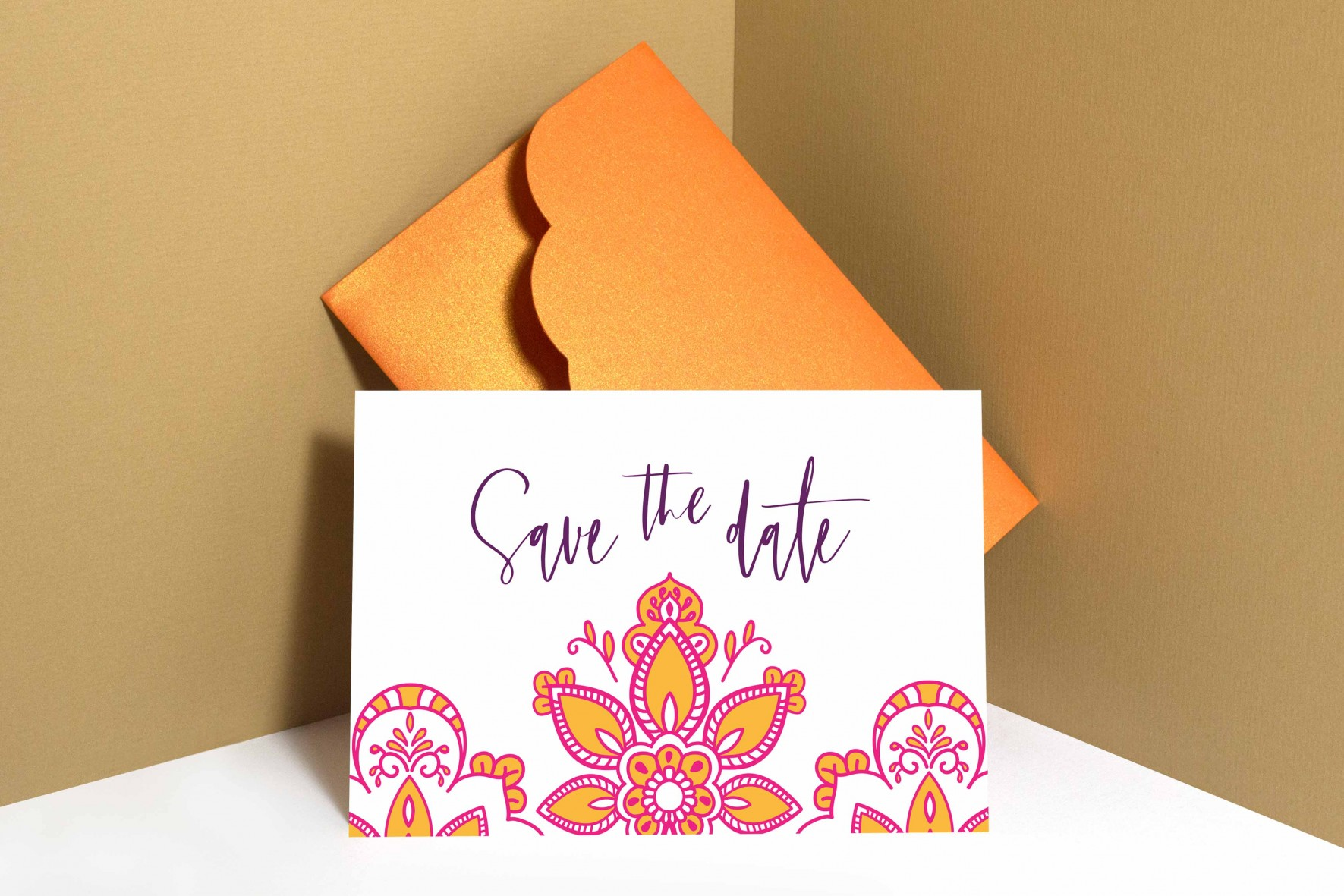 Modern Indian inspired wedding save the date