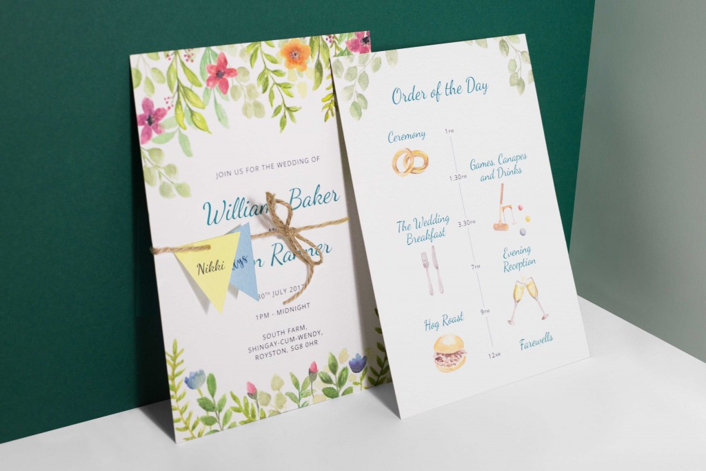 Watercolour floral bunting festival wedding invitation with bunting guest name tags tied with twine