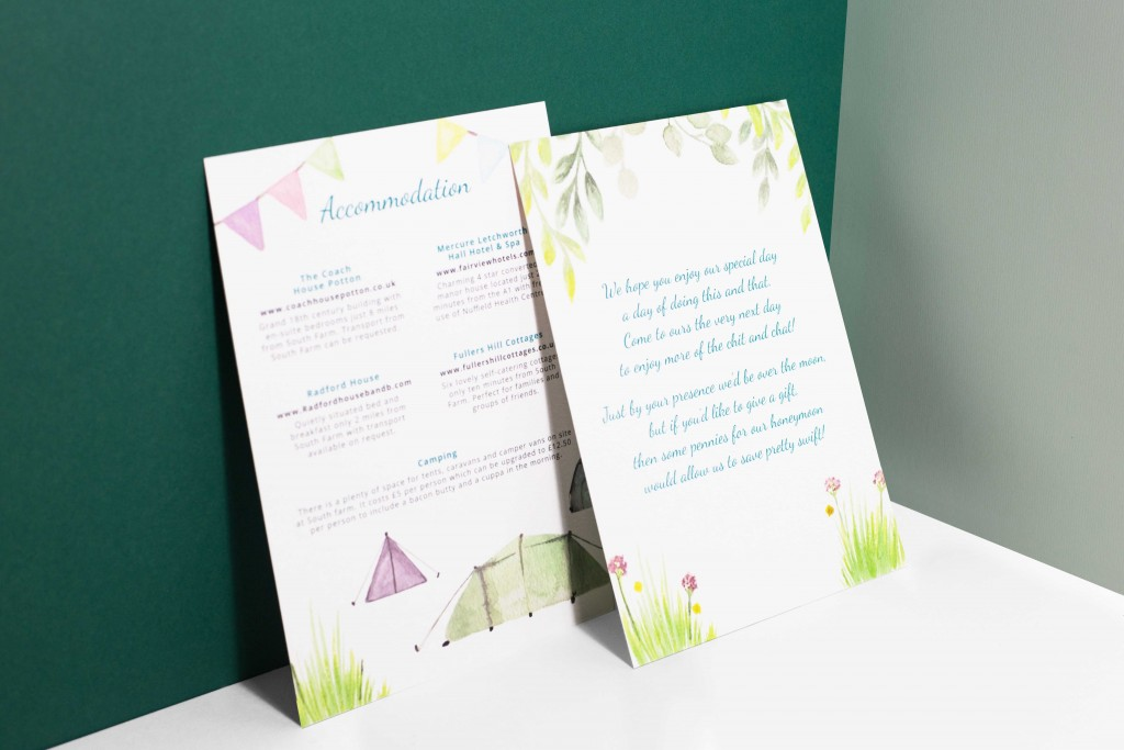 Watercolour floral bunting camping themed festival wedding invitation