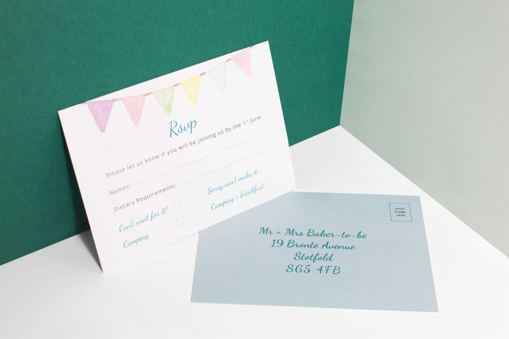 Bespoke watercolour floral festival bunting themed wedding invitation RSVP card