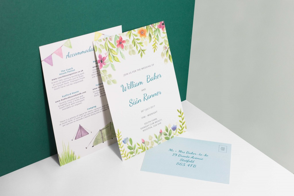 Bespoke watercolour floral bunting festival themed wedding invitation set
