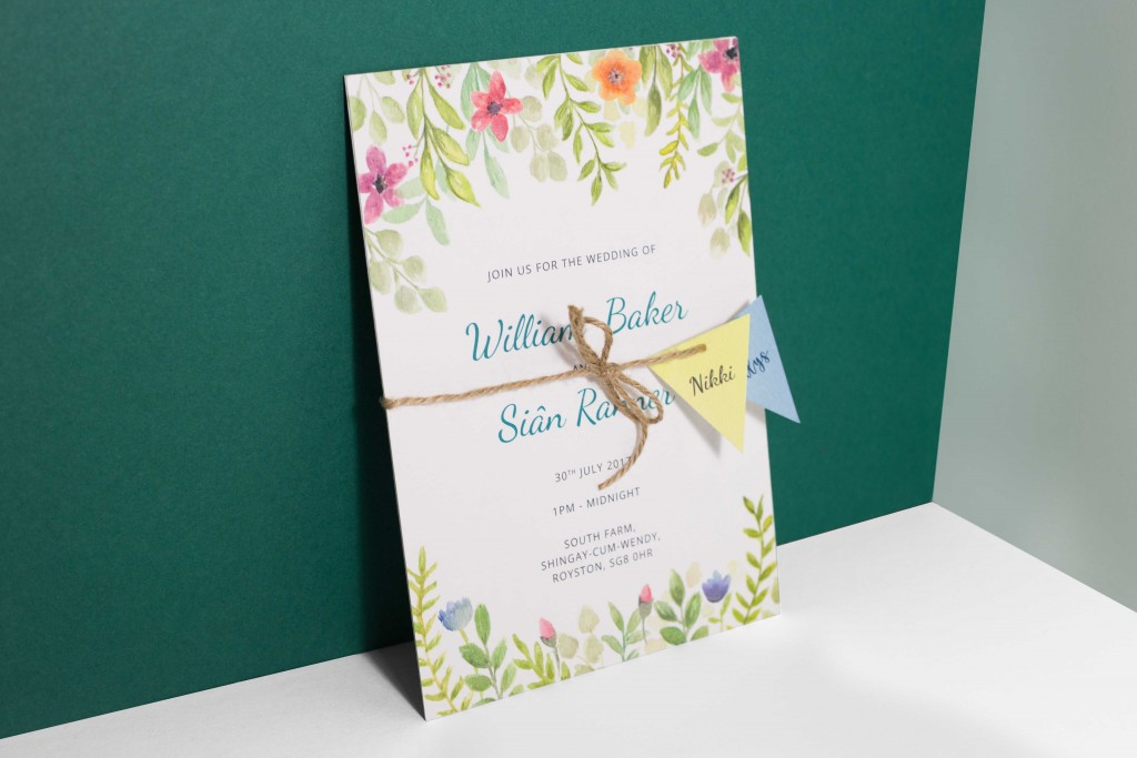 Watercolour floral bunting festival themed wedding invitation