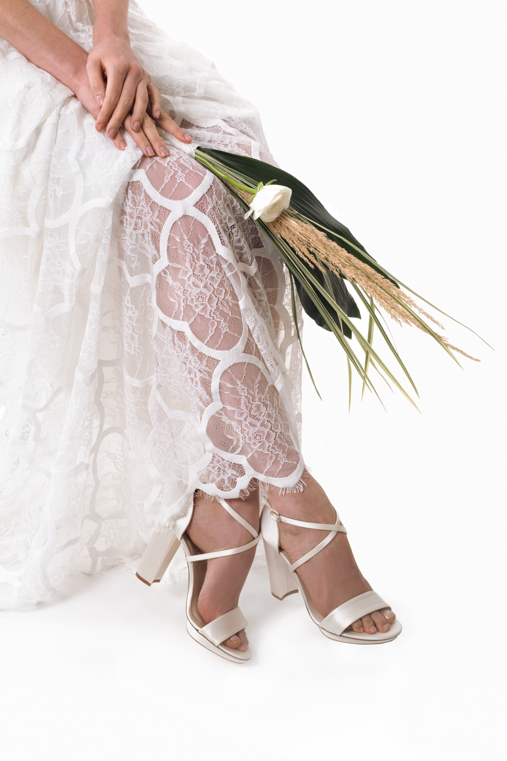Mediterranean inspired boho beach wedding styled shoot, lace, floaty dress by Love Spell, shoes by Harriet Wilde