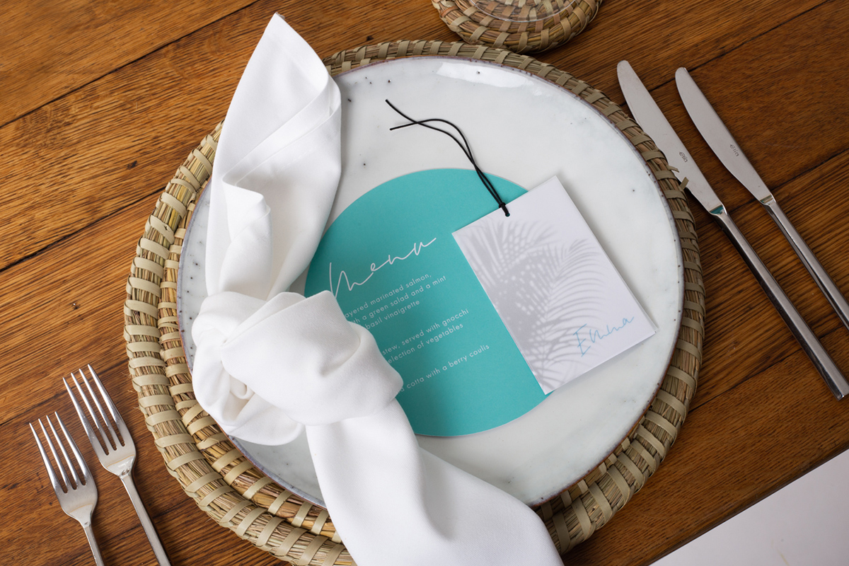 Mediterranean inspired boho beach wedding styled shoot Ibiza, Mykonos destination wedding menu place setting