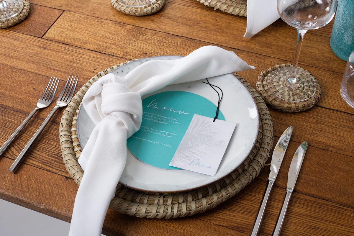 Mediterranean inspired boho beach wedding styled shoot Ibiza, Mykonos destination wedding stationery and table styling menu