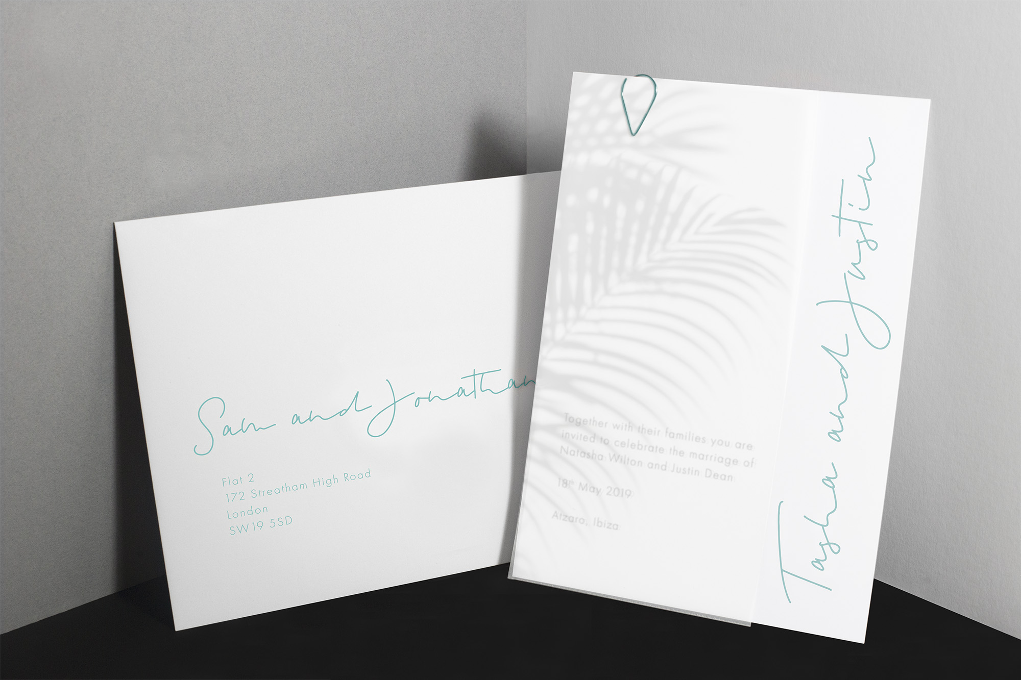 Mediterranean inspired boho beach wedding styled shoot Ibiza, Mykonos destination wedding stationery vellum invitation