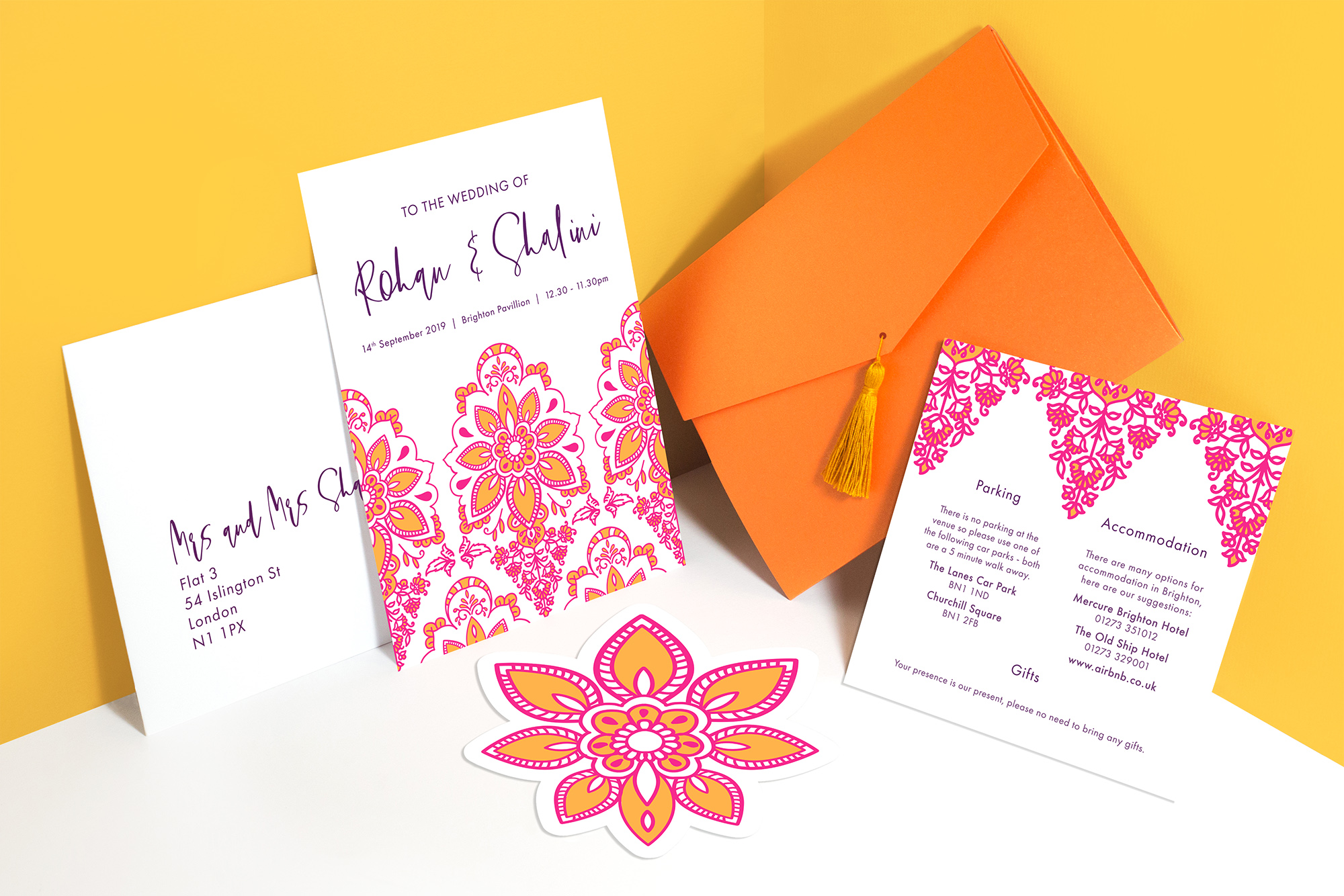 Modern Indian Inspired, colourful untraditional, henna pattern wedding stationary invitation die cut with pocket and tassel