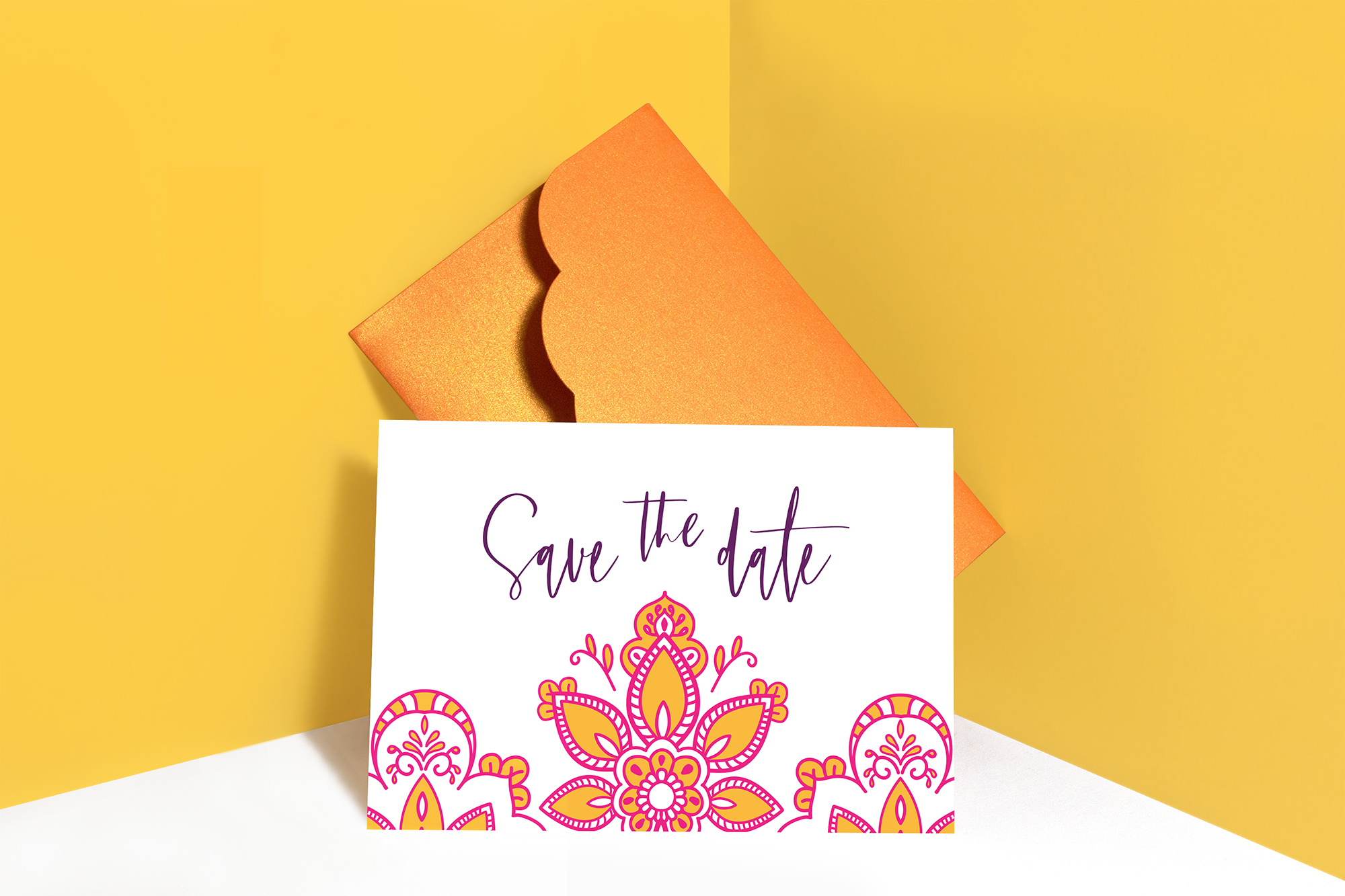 Modern Indian Inspired, colourful untraditional, wedding stationary invitation save the date