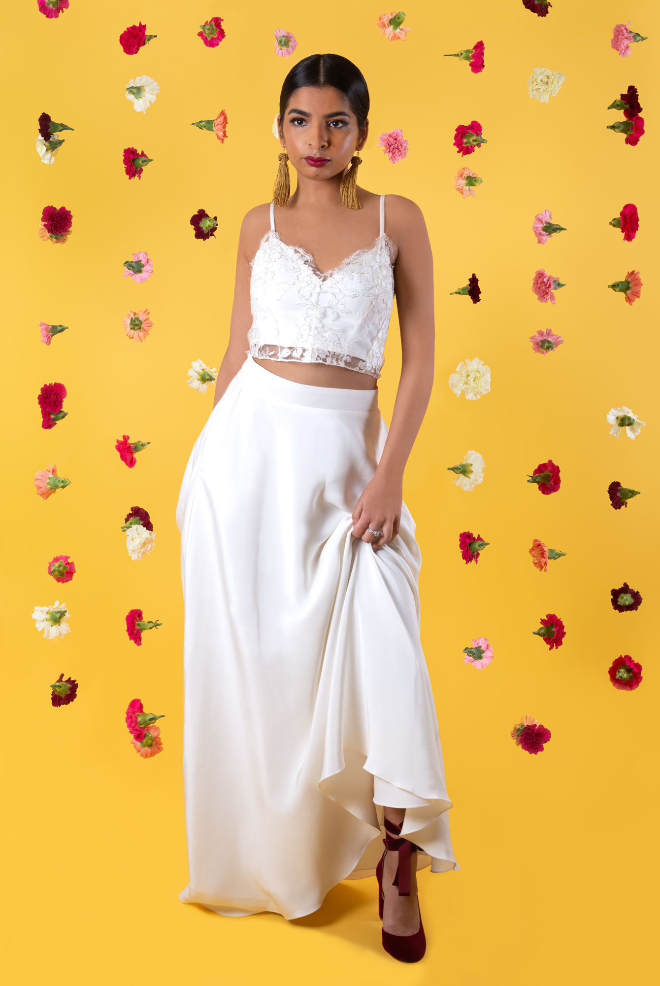 Modern Indian Inspired, untraditional, wedding styled shoot with house of ollichon bridal separates and Harriet Wilde bridal shoes