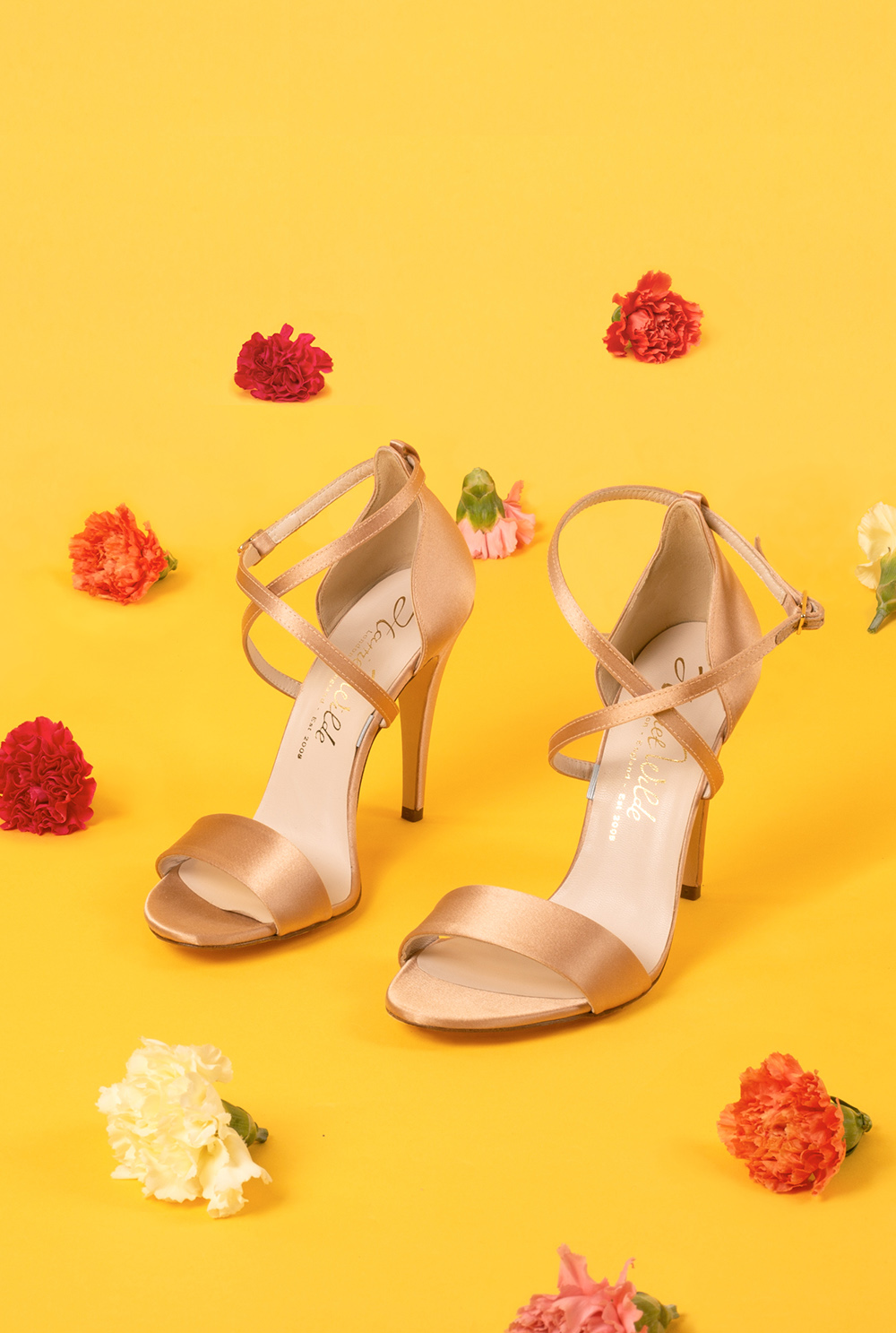 Modern Indian Inspired, untraditional, wedding styled shoot with hanging carnation curtain and Harriet Wilde bridal shoes
