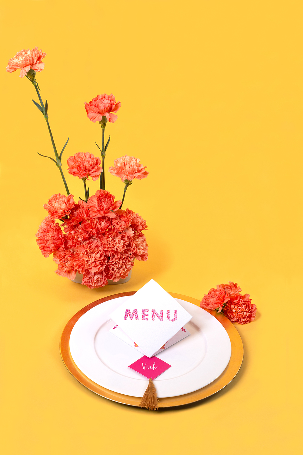 Modern Indian Inspired, untraditional, wedding styled shoot table styling and stationery