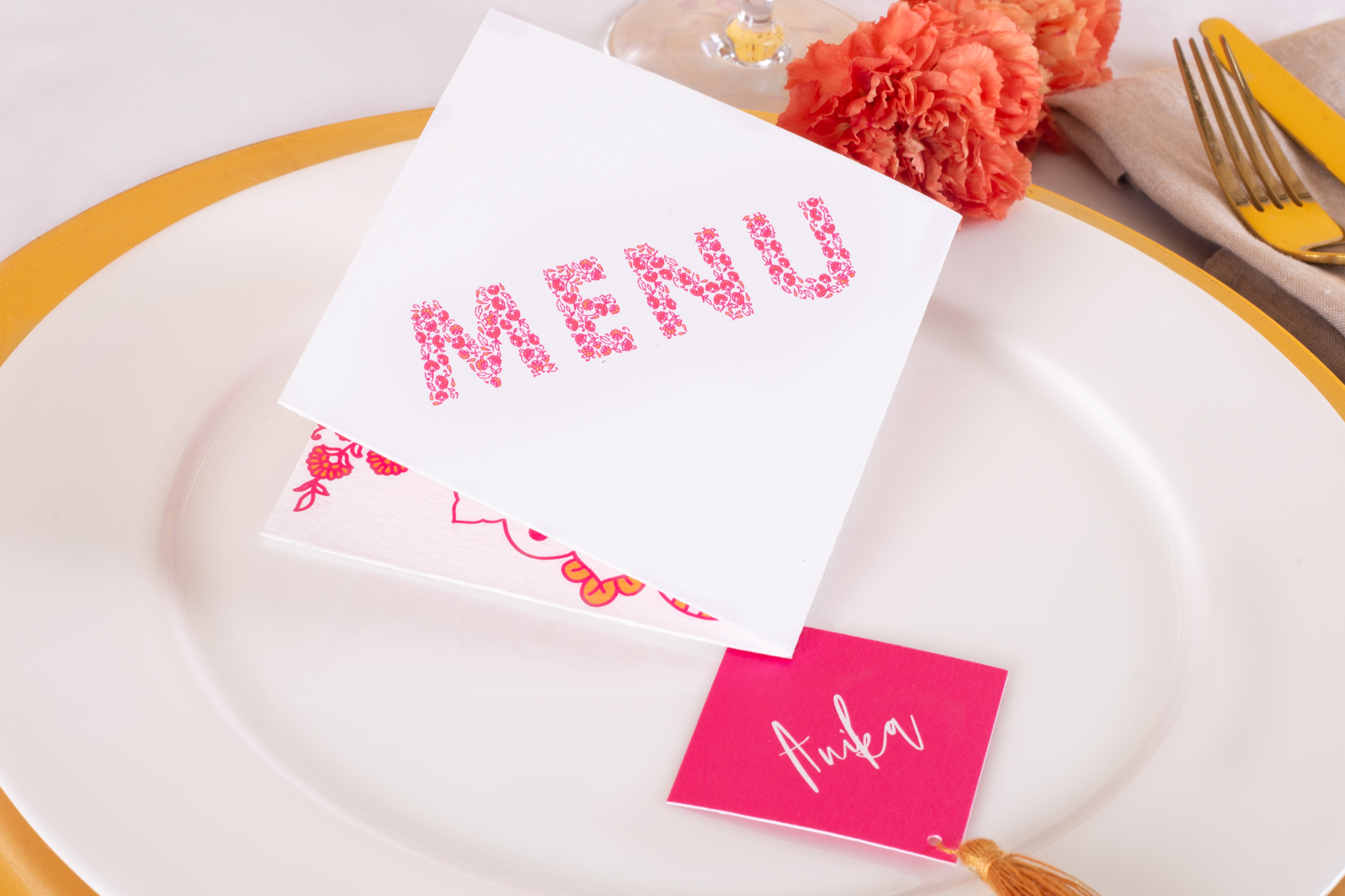 Modern Indian Inspired, untraditional, wedding styled shoot table styling and stationery menu