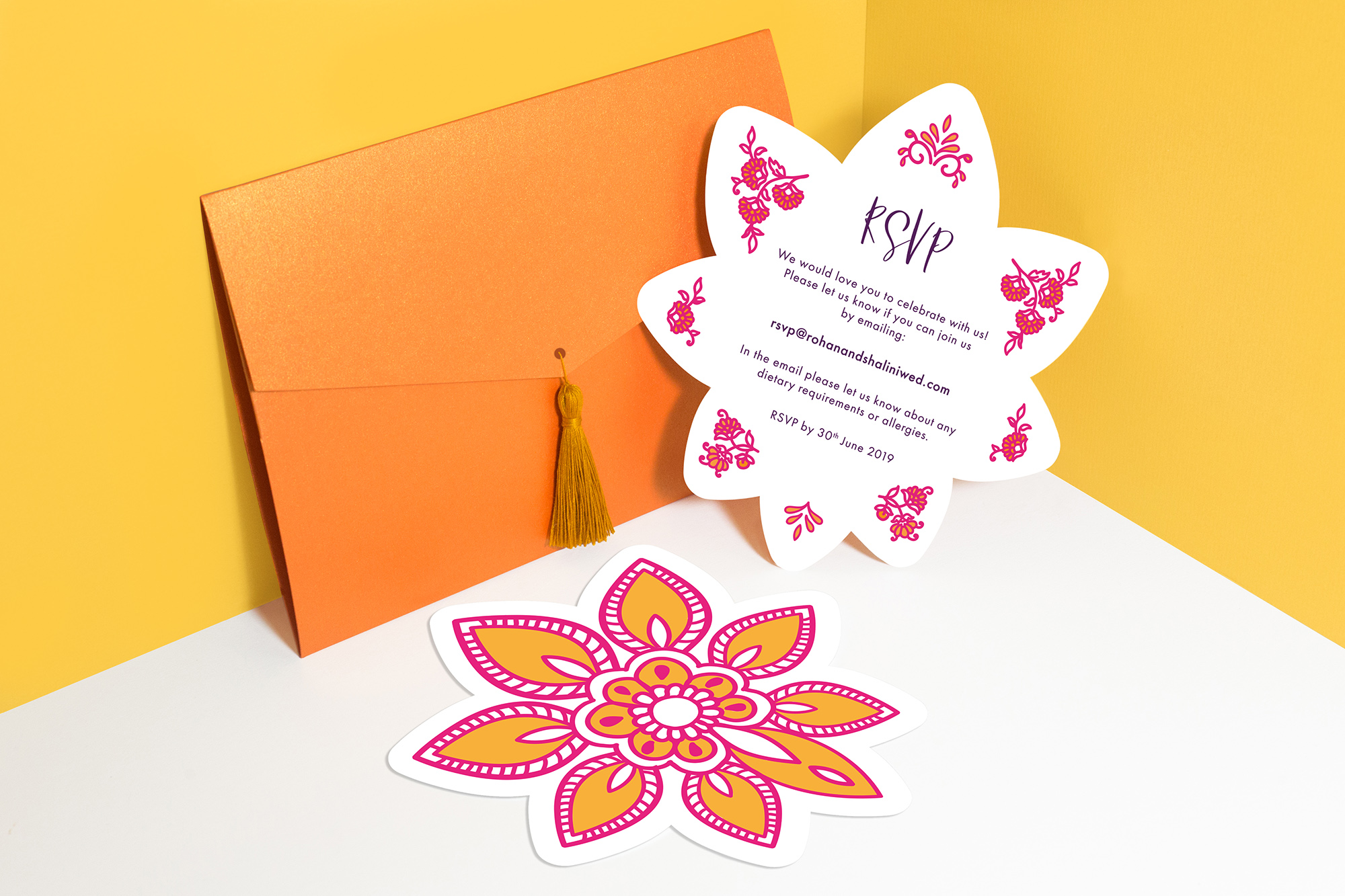 Modern Indian Inspired, colourful untraditional, henna pattern wedding stationary invitation die cut RSVP card with pocket and tassel