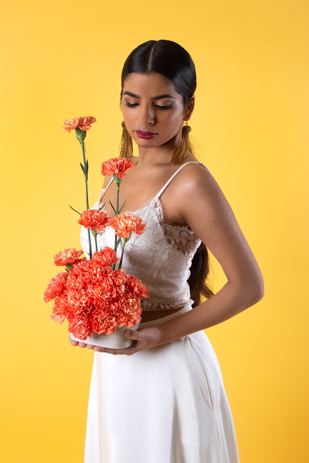Modern Indian Inspired, untraditional, wedding styled shoot with house of ollichon bridal separates and carnation bouquet