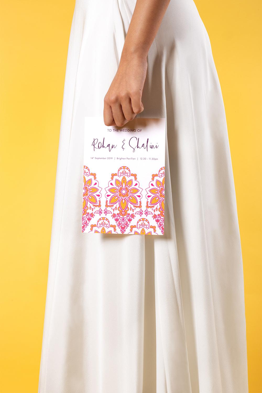 Modern Indian Inspired, untraditional, wedding stationary invitation design