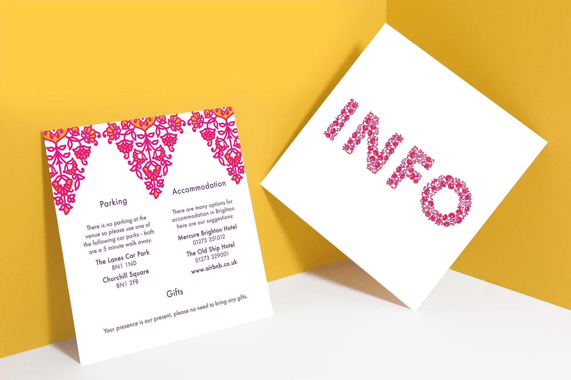 Modern Indian Inspired, colourful untraditional, henna pattern wedding stationary invitation info card