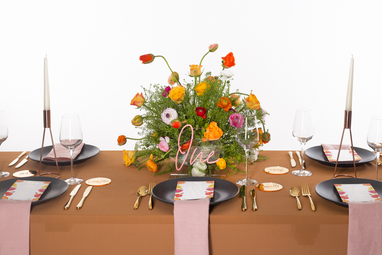 Modern Mexican colourful floral untraditional wedding styled shoot table styling -by Rose Paper Scissors with acrylic table number