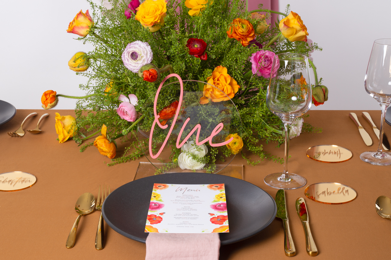 Modern Mexican colourful floral untraditional wedding styled shoot table styling -by Rose Paper Scissors with acrylic table number and gold foil menus