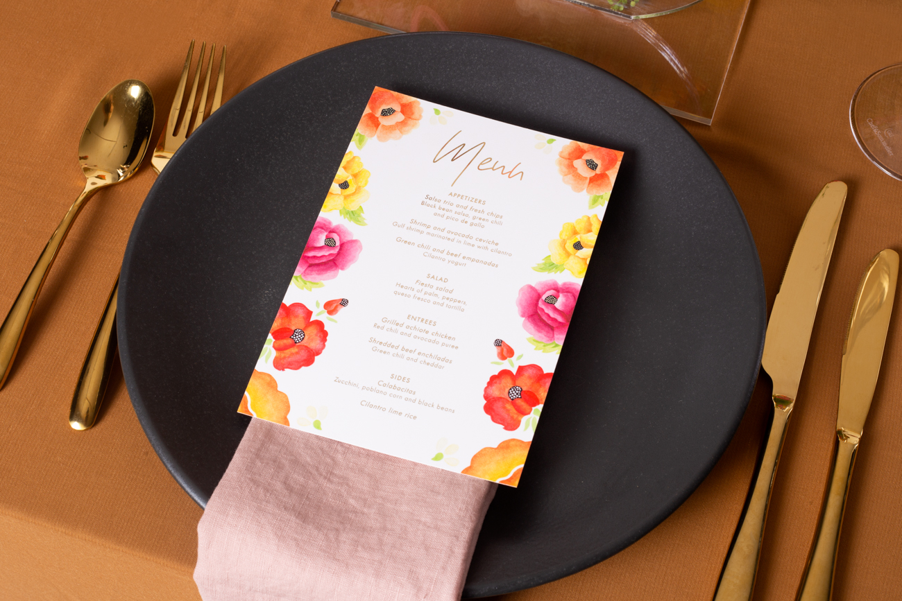 Modern Mexican colourful floral untraditional wedding styled shoot table styling - floral menu with gold foil and black dinner plate
