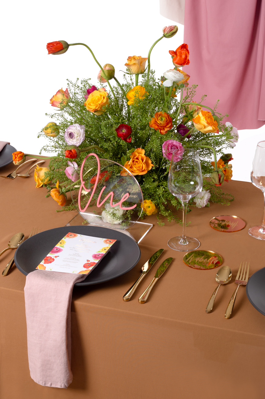 Modern Mexican colourful floral untraditional wedding styled shoot table styling - by Rose Paper Scissors with acrylic table number and gold mirror place names