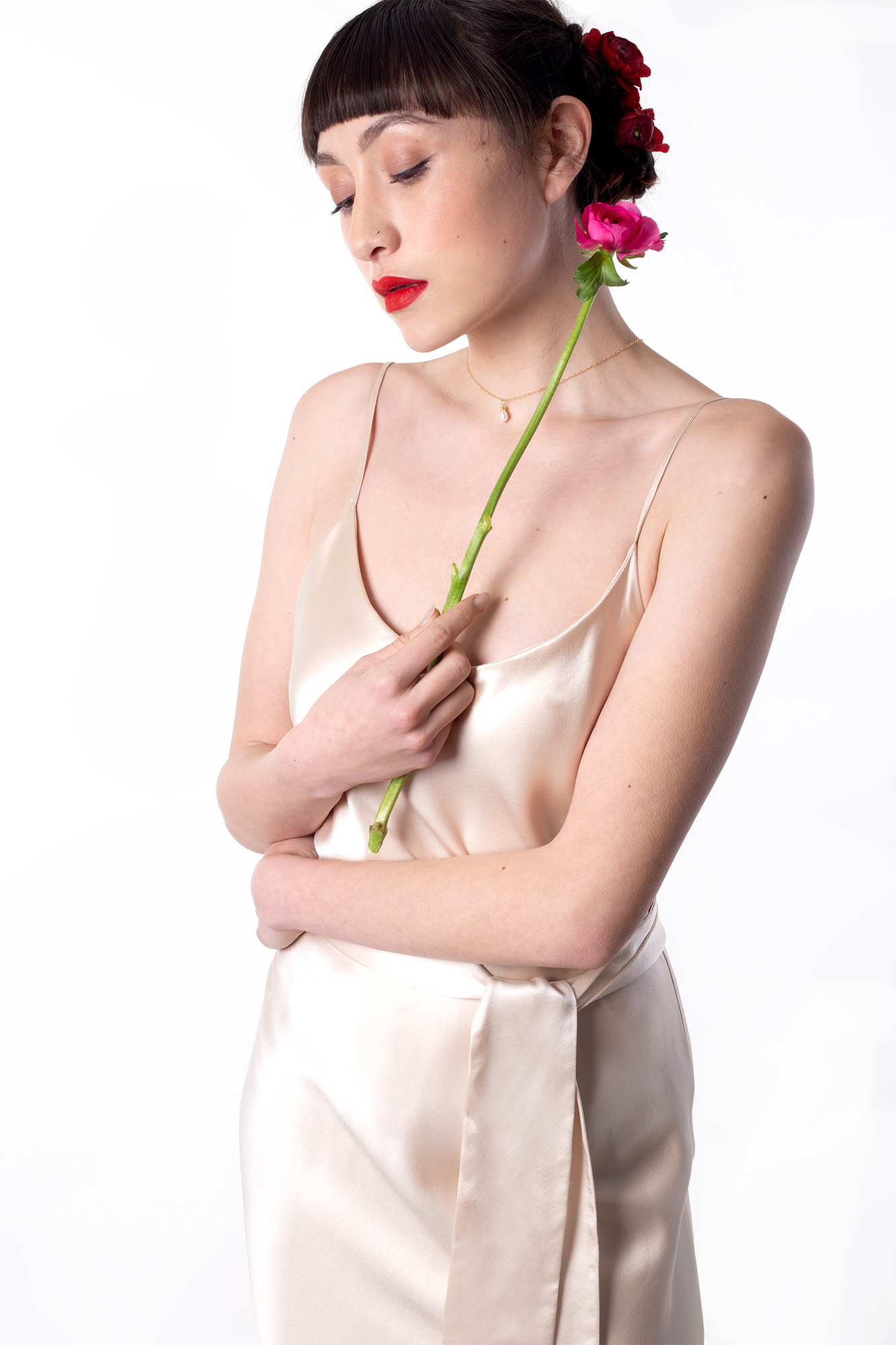 Modern Mexica colourful Oaxaca flower and Frida kahlo inspired untraditional wedding styled shoot - silk slip dress by Belle and Bunty