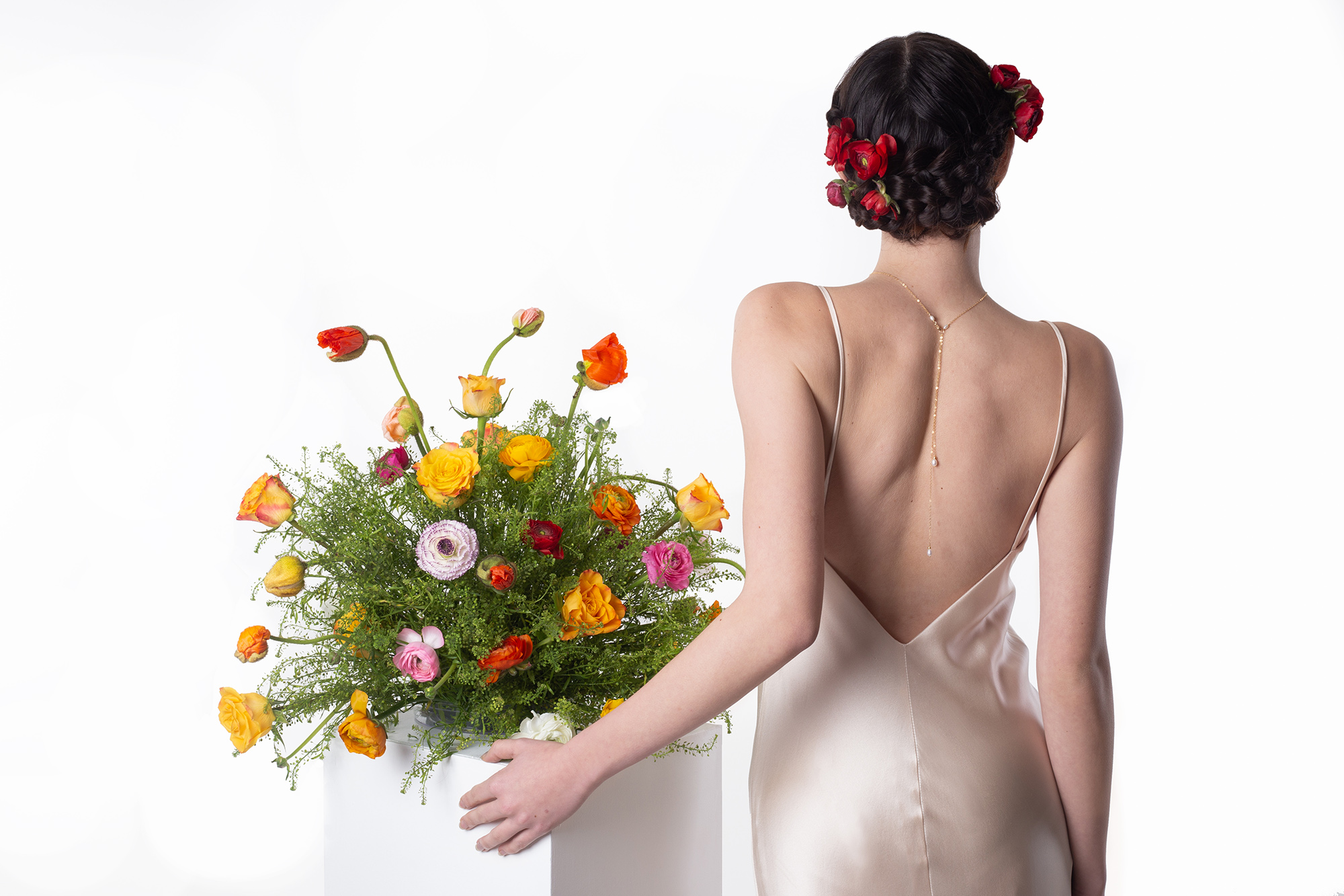 Modern Mexica colourful Oaxaca flower and Frida kahlo inspired untraditional wedding styled shot - silk slip dress by Belle and Bunty