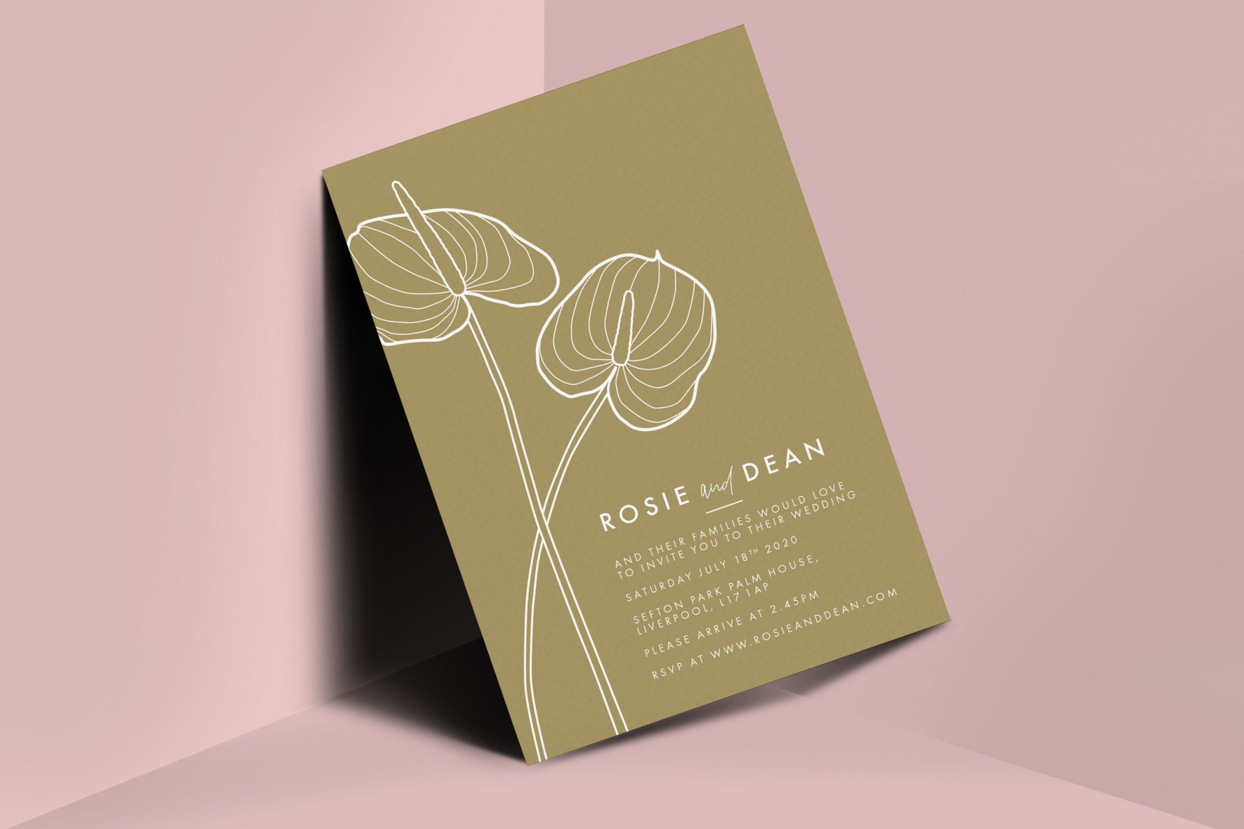 Anthurium Flamingo flower Laceleaf modern Wedding stationery