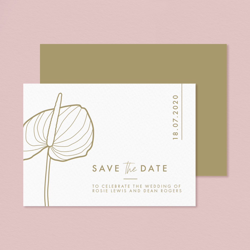 Letterpress Anthurium Flamingo tropical flower Laceleaf modern Wedding save the date.jpg
