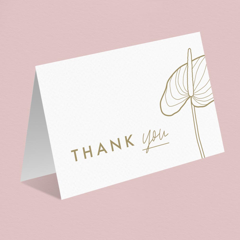 Letterpress Anthurium Flamingo flower Laceleaf modern Wedding thank you card