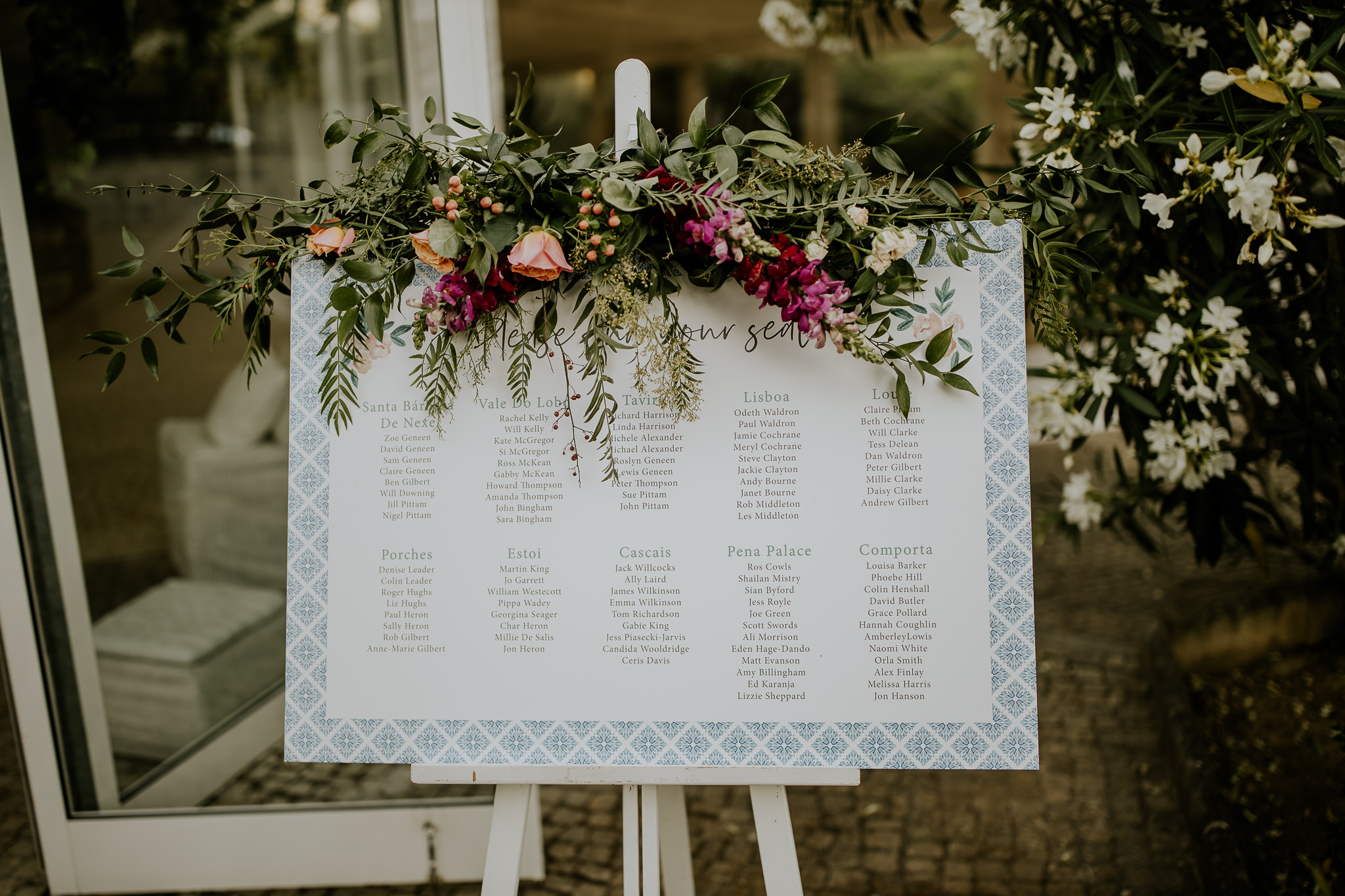 Watercolour flowers portuguese tiles wedding on the day stationery table plan