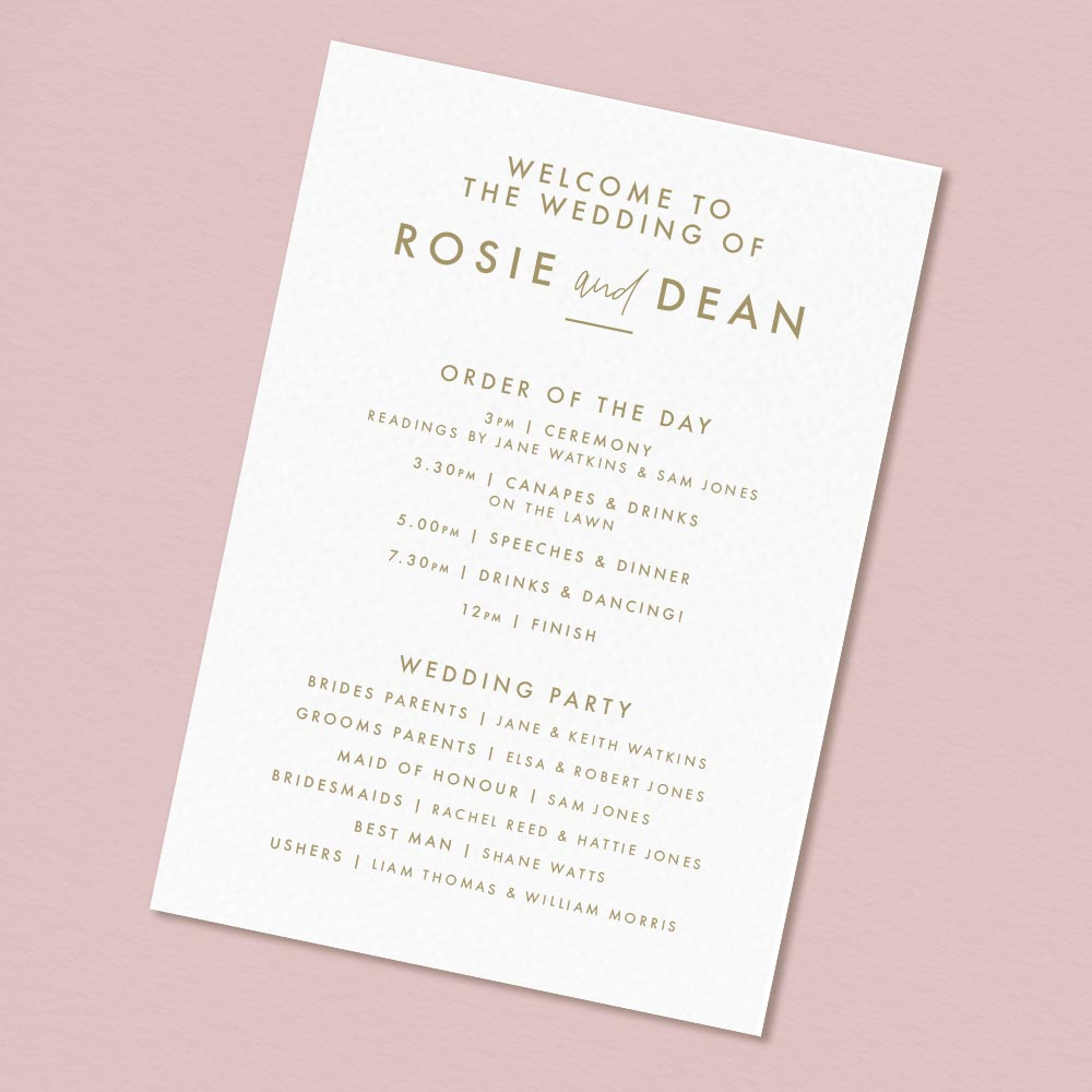 modern Wedding ceremony card, non-religious