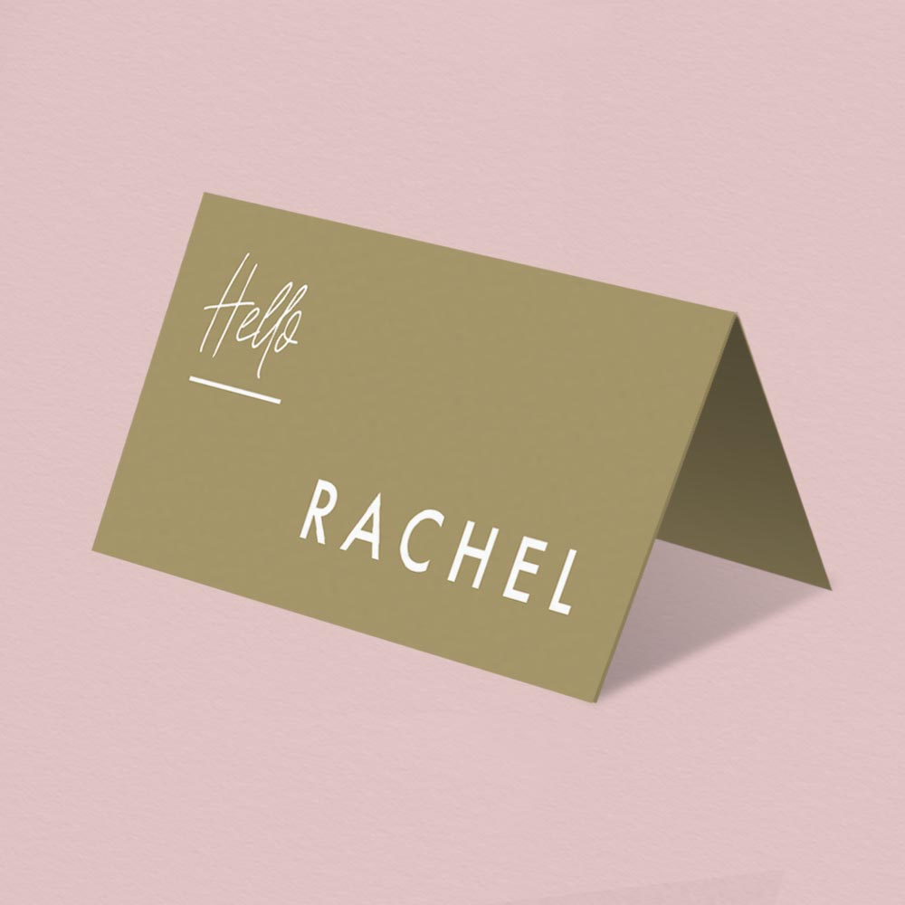 modern wedding hello place name tent card