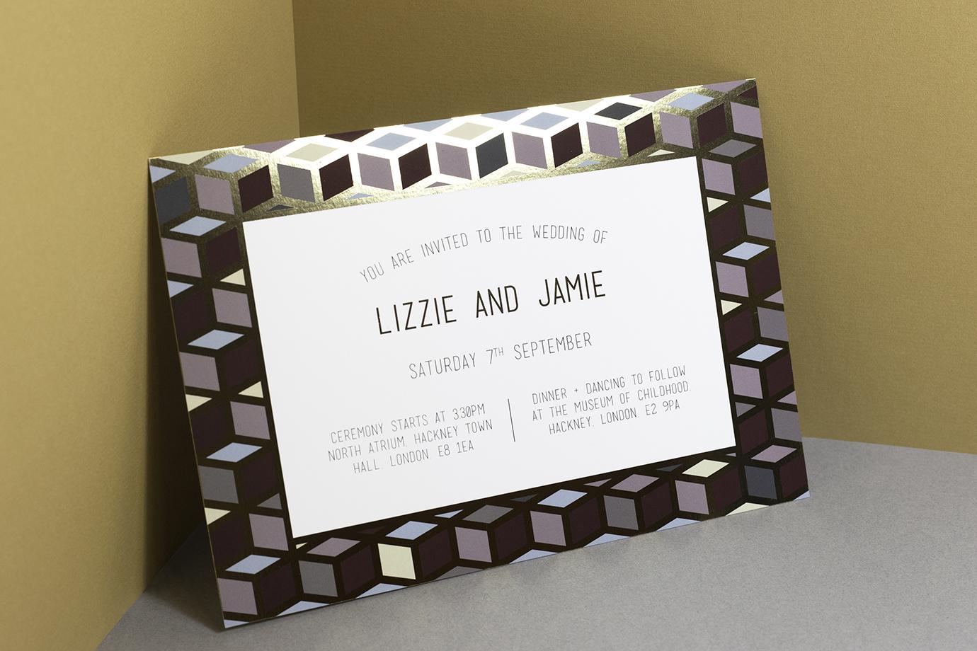 V&A Museum of Childhood tile wedding invitation Design